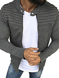 cheap -Men's Daily Regular Jacket, Solid Colored Round Neck Long Sleeve Polyester Black / Gray
