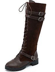 cheap -Women's Boots Knee High Boots Chunky Heel Round Toe Suede Knee High Boots Fall & Winter Black / Brown / Coffee