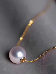 cheap -Women's Freshwater Pearl Necklace Classic Style Simple Small Pearl Gold Plated Gold 45 cm Necklace Jewelry 1pc For Christmas Gift Daily Promise