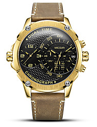 cheap -MEGIR Men's Dress Watch Quartz Sporty Stylish Genuine Leather Brown 30 m Water Resistant / Waterproof Calendar / date / day Chronograph Analog Outdoor Fashion - Black Black / White Golden+Black Two