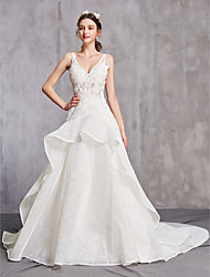 cheap -A-Line V Neck Chapel Train Tulle Spaghetti Strap Sexy Wedding Dresses with Beading / Ruffles / Appliques 2020