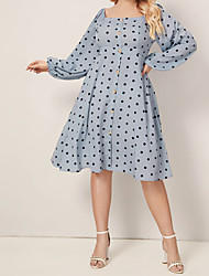 cheap -Women's Plus Size Sheath Dress - Long Sleeve Polka Dot U Neck Elegant Vintage Slim Light Blue XL XXL XXXL XXXXL