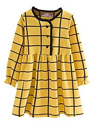 cheap -Kids Toddler Girls' Boho Solid Colored Plaid Bow Ruffle Ruched Long Sleeve Above Knee Dress Yellow