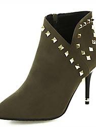 cheap -Women's Boots Stiletto Heel Pointed Toe Rivet Synthetics Booties / Ankle Boots Fall & Winter Black / Army Green / Yellow