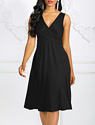 cheap -Women's Plus Size Basic Mini Shift Dress - Solid Colored High Waist V Neck Summer Fuchsia Wine Royal Blue XXXL XXXXL XXXXXL