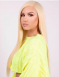 cheap -Synthetic Lace Front Wig Straight Matte Kardashian Middle Part 13x6 Closure Lace Front Wig Blonde Long Light Blonde Synthetic Hair 22-26 inch Women's Heat Resistant Women Hot Sale Blonde / Glueless