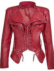 cheap -Women's Daily Regular Leather Jacket, Solid Colored Stand Long Sleeve PU Black / Red