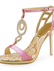 cheap -Women's Sandals Stiletto Heel Open Toe Rhinestone Synthetics Sweet Summer Gold / Pink / Silver / Party & Evening