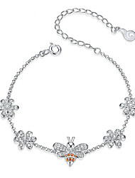 cheap -Insect Bee Queen and Flower Lobster Lock Chain Bracelets for Women 925 Sterling Silver Luxury Jewelry Gifts