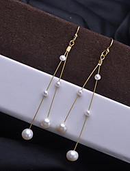 cheap -Women's Freshwater Pearl Hoop Earrings Beads Drop Stylish Romantic Korean Fashion Cute Pearl Gold Plated Earrings Jewelry Gold For Party Gift Daily Holiday Festival 2pcs