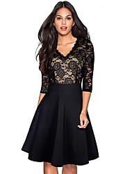 cheap -Women's Basic Sophisticated A Line Sheath Dress - Color Block Lace Patchwork Deep V Cotton Black Wine Navy Blue S M L XL