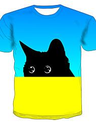 levne -Pánské Větší velikosti Barevné bloky 3D Kočka Tisk Tričko Základní Přehnaný Denní Jdeme ven Kulatý Světle modrá / Krátký rukáv / Zvíře