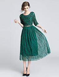 cheap -Women's Elegant A Line Dress - Polka Dot White, Lace Embroidered Green S M L XL