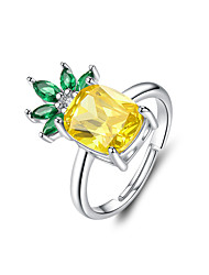 cheap -Summer Pineapple Adjustable Rings S925 Silver Big Cubic Zirconia Fruit  Free Size Ring for Women Statement Jewelry  Size 1.8cm X1.2cm