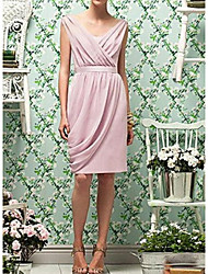 cheap -Sheath / Column Scoop Neck Knee Length Chiffon Bridesmaid Dress with Sash / Ribbon / Ruching / Open Back