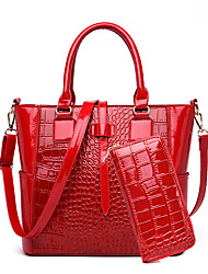 cheap -Women's Zipper Patent Leather Bag Set Solid Color 2 Pieces Purse Set Black / Brown / Red