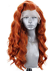 cheap -Synthetic Lace Front Wig Wavy Side Part Lace Front Wig Long Orange Synthetic Hair 18-26 inch Women's Adjustable Heat Resistant Party Brown