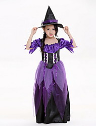 cheap -Witch Costume Girls' Fairytale Theme Halloween Performance Theme Party Costumes Girls' Dance Costumes Polyester Lace-up