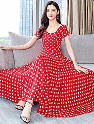 cheap -Audrey Hepburn Country Girl Polka Dots Retro Vintage 1950s Wasp-Waisted Rockabilly Dress Masquerade Women's Costume Red Vintage Cosplay Cotton Party Daily Festival Sleeveless