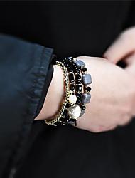 cheap -4pcs Women's Bead Bracelet Logo Package Casual / Sporty Acrylic Bracelet Jewelry Black / White / Orange For Daily