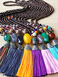 cheap -Women's Pendant Necklace Statement Necklace Beads Totem Series U Shape Simple Classic European Trendy Cord Copper Wood Black Yellow Red Light Green Burgundy 76-80 cm Necklace Jewelry 1pc For
