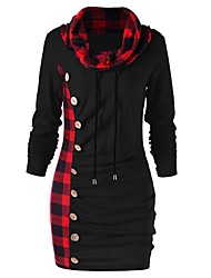 cheap -Women's Basic Bodycon Dress - Color Block Check Black & Red, Lace up Patchwork Turtleneck Black Gray M L XL XXL