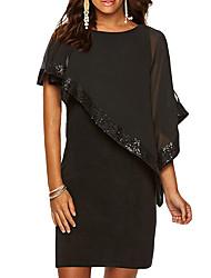 cheap -Women's Plus Size Basic Slim Sheath Dress - Solid Colored Sequins Black Wine Purple S M L XL