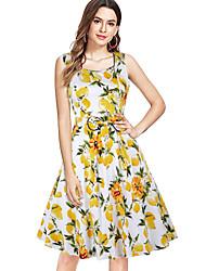 cheap -Women's Swing Dress Midi Dress - Sleeveless Print Summer Vintage 2020 Yellow S M L XL XXL