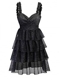 cheap -Audrey Hepburn Retro Vintage Little Black Dress 1950s Dress Masquerade Women's Tulle Costume Black Vintage Cosplay Party Sleeveless