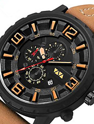cheap -Men's Dress Watch Quartz Sporty Rubber Black / Khaki 30 m Water Resistant / Waterproof Calendar / date / day New Design Analog Outdoor - Black Black / Brown Khaki Two Years Battery Life