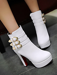 cheap -Women's Boots Chunky Heel Round Toe PU(Polyurethane) Booties / Ankle Boots Vintage / British Fall & Winter Black / White / Red / Party & Evening