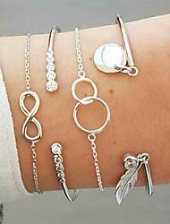 cheap -4pcs Women's Bracelet Bangles Cuff Bracelet Vintage Bracelet Layered Leaf Infinity Statement Vintage Bohemian Ethnic Fashion Alloy Bracelet Jewelry Silver For Daily School Street Holiday Festival