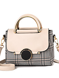 cheap -Women's PU(Polyurethane) Top Handle Bag Leather Bags Striped White / Black / Red / Fall & Winter