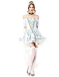 cheap -Princess Cosplay Costume Masquerade Adults' Women's Cosplay Halloween Halloween Festival / Holiday Tulle Cotton / Polyester Blend Pale Blue Women's Carnival Costumes