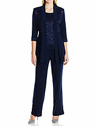 cheap -Pantsuit / Jumpsuit Mother of the Bride Dress Wrap Included Jewel Neck Floor Length Polyester Half Sleeve with Crystals 2021