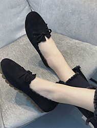cheap -Women's Flats Flat Heel Round Toe Bowknot Satin Casual Running Shoes / Cycling Shoes Spring &  Fall / Winter Black / Green / Khaki