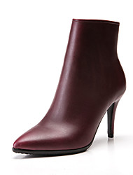 cheap -Women's Boots Stiletto Heel Pointed Toe Faux Leather Booties / Ankle Boots Vintage / Minimalism Fall & Winter Black / Wine