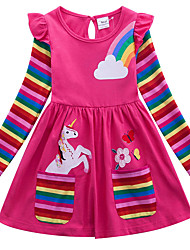 cheap -Kids Little Girls' Dress Unicorn Rainbow Flower / Floral Animal T Shirt Dress Tee Dress Cartoon With Pockets Print Blue Yellow Fuchsia Above Knee Long Sleeve Active Casual Dresses Regular Fit 2-8