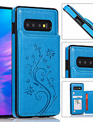 cheap -Luxury Leather Phone Case For Samsung Galaxy S10 Plus S10e S10 S9 Plus S9 S8 Plus S8 S7 Edge S7 Wallet Card Holder Embossed Flower Phone Bag For Galaxy Note 10 Plus Note 10 Note 9 Note 8 Cover