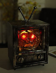 cheap -Halloween TV Pumpkin Night Light Vintage Halloween Ornament Prop Television Light Hanging Retro Light Holiday Party Living Room Bedroom Decoration 1pc