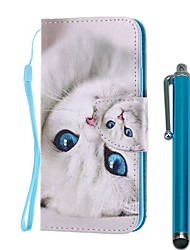 cheap -Case For Samsung Galaxy S10 / S10 Plus / S10 E Wallet / Card Holder / with Stand Full Body Cases Blue Eyed Cat PU Leather / TPU for A71 / A51 / A90 / A80 / A70 / A50 / A30S / Note 10 Plus / J6 Plus