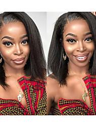 Недорогие -человеческие волосы Remy Полностью ленточные Лента спереди Парик стиль Бразильские волосы Естественные прямые Черный Парик 130% 150% 180% Плотность волос