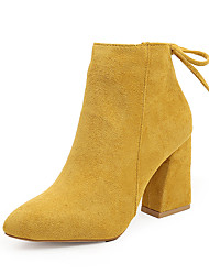 cheap -Women's Boots Chunky Heel Pointed Toe Microfiber Booties / Ankle Boots Fall & Winter Black / Camel / Yellow