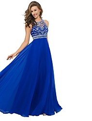 cheap -A-Line Halter Neck Sweep / Brush Train Chiffon Open Back Formal Evening Dress with Crystals 2020