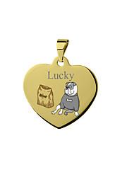 cheap -Personalized Customized Bulldog Dog Tags Classic Gift Daily Heart Shape 1pcs Silver Blushing Pink Yellow / Laser Engraving