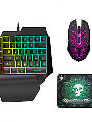 cheap -LITBest USB Wired Single Handed Gaming Keyboard Backlit Illuminous Keys with Wrist Breathing Lights Mouse and Pad Combos 3 Pieces a Kit