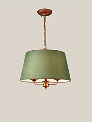 cheap -3-Light Pendant Lamp Modern Simple Hanging Light Round Fabric Shade American Country Chandeliers 2 Lights for Living Room Dining Hall