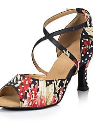 cheap -Women's Dance Shoes Satin Latin Shoes Rhinestone / Crystal / Rhinestone Heel Flared Heel Customizable Black / Red / Performance