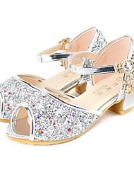 cheap -Girls' Flower Girl Shoes Synthetics Sandals Little Kids(4-7ys) Crystal Purple / Pink / Silver Summer / Peep Toe
