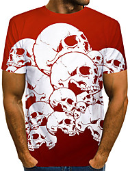 cheap -Men's Color Block 3D Print T-shirt Street chic Exaggerated Halloween Daily Wear Round Neck Red / Short Sleeve / Skull